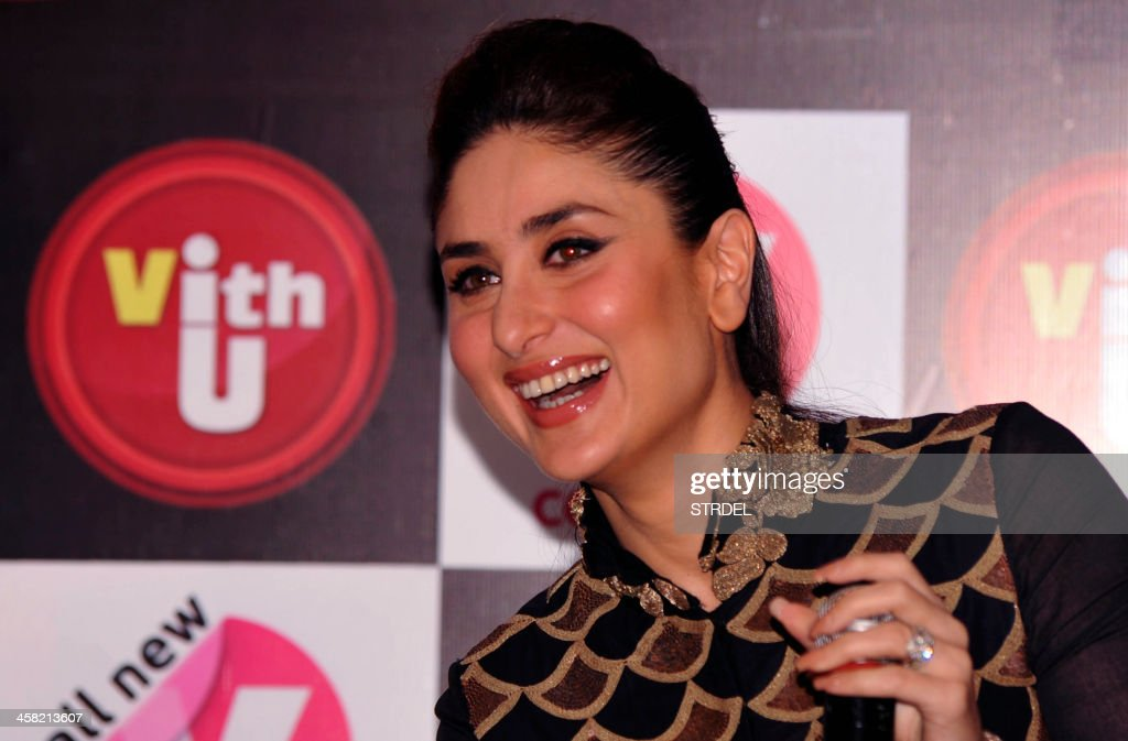Indian Bollywood actress Kareena Kapoor speaks to media during an event for a mobile phone app to promote women's safety in Mumbai on late December 20, 2013.