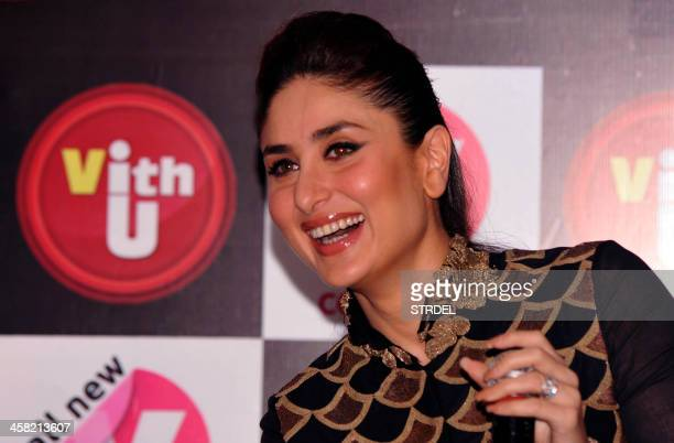 Indian Bollywood actress Kareena Kapoor speaks to media during an event for a mobile phone app to promote women's safety in Mumbai on late December...