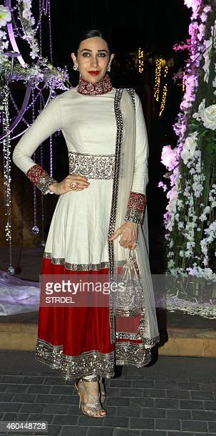 Indian Bollywood actress Karishma Kapoor attends the marriage Sangeet ceremony of Bollywood film director Punit Malhotra and Riddhi Malhotra the...