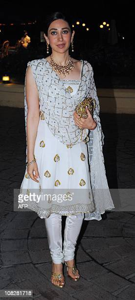 Indian Bollywood actress Karishma Kapoor attends the wedding ceremony for bollywood actors Neelam Kothari and Sameer Soni in Mumbai on January 23...