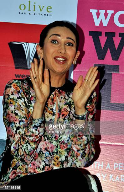 Indian Bollywood actress Karishma Kapoor attends the Women and the Weight Loss Tamasha book launch in Mumbai on January 20 2012 AFP PHOTO/STR
