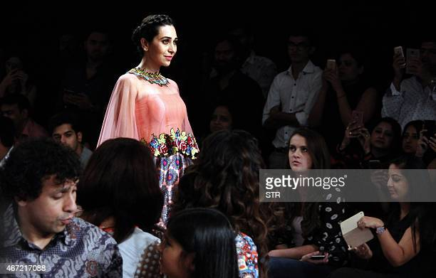 Indian Bollywood actress Karishma Kapoor showcases a creation by designer Sonu Dharndharka on the fourth day of the Lakme Fashion Week summer/resort...