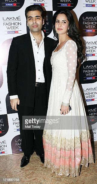 Indian Bollywood actress Katrina Kaif and director Karan Johar during Lakme Fashion WeekWinter/Festive 2011 in Mumbai on Sunday August 21 2011