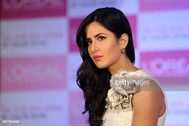 Indian Bollywood actress Katrina Kaif attends an event for LOreal products in Mumbai on January 28 2016 AFP PHOTO / AFP / STR