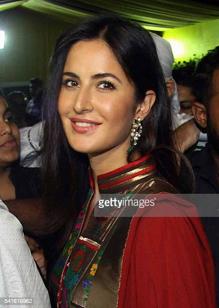 Indian Bollywood actress Katrina Kaif attends an Iftar party hosted by politician Baba Siddiqui during the Islamic holy month of Ramadan in Mumbai on...