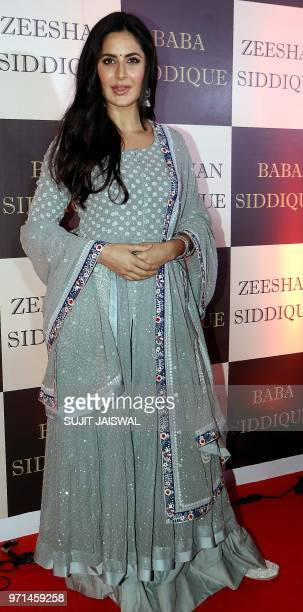 Indian Bollywood actress Katrina Kaif attends the politician Baba Siddiques Annual Iftar party in Mumbai on June 10 2018