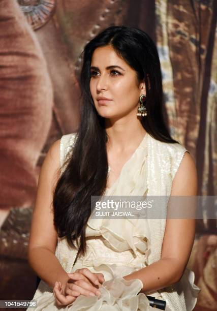 Indian Bollywood actress Katrina Kaif participates to the trailer launch of the upcoming Indian film 'Thugs of Hindostan' in Mumbai on September 27...