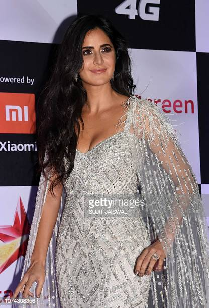 Indian Bollywood actress Katrina Kaif poses for a picture as she attends the 'Star Screen Awards' ceremony in Mumbai late on December 16 2018