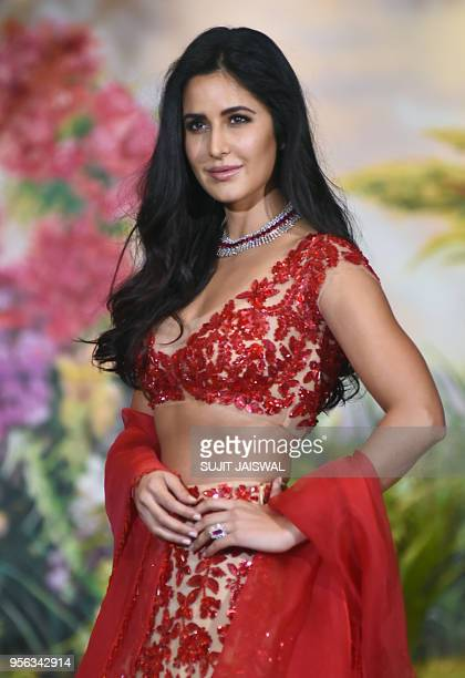 Indian Bollywood actress Katrina Kaif poses for a picture during the wedding reception of actress Sonam Kapoor and businessman Anand Ahuja in Mumbai...