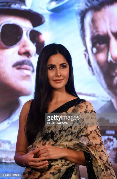 Indian Bollywood actress Katrina Kaif poses for photographs as she attends the launch of her upcoming Hindi film 'Bharat' in Mumbai on May 17, 2019.