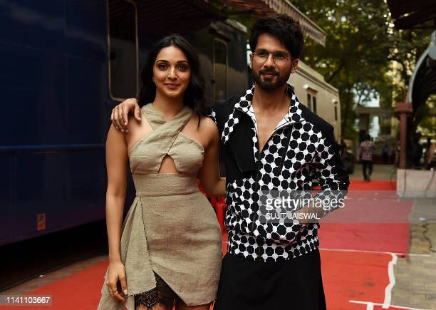 Indian Bollywood actress Kiara Advani and actor Shahid Kapoor pose for photographs during the recording of the reality talk show Vogue BFFs season 3...