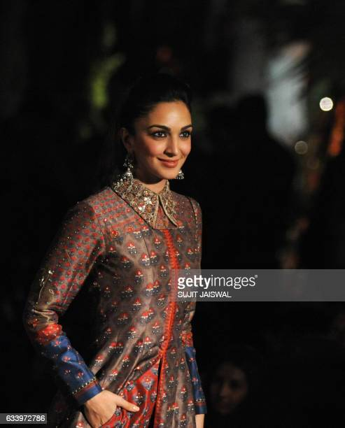 Indian Bollywood actress Kiara Advani attends the Grand Finale of the Lakme Fashion Week Summer Resort 2017 in Mumbai on February 5, 2017. / AFP /...