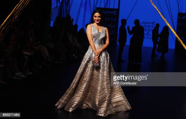 Indian Bollywood actress Kiara Advani poses for a photograph at Lakme Fashion Week Winter /Festive 2017 in Mumbai on August 18, 2017. Lakme Fashion...