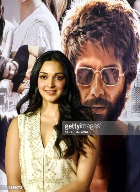 Indian Bollywood actress Kiara Advani poses for photographs during the trailer launch of the upcoming Hindi film 'Kabir Singh' in Mumbai on May 13...