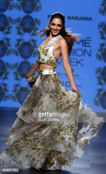Indian Bollywood actress Kiara Advani showcases a creation by designer Farah Sanjana at Lakmé Fashion Week Summer Resort 2017 in Mumbai on February 3...