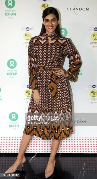 Indian Bollywood actress Kirti Sanon attends the Oxfam Best Film on Gender Equality award at Jio MIMI film festival in Mumbai on October 16 2017 /...