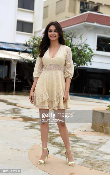Indian Bollywood actress Kriti Kharbanda poses during a promotional event for their upcoming action comedy film Yamla Pagla Deewana Phir Se in Mumbai...