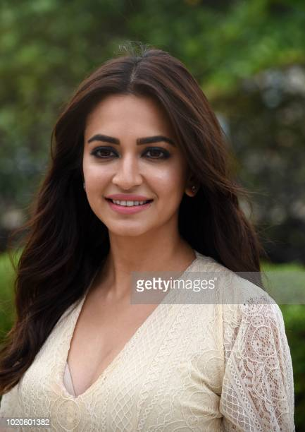 Indian Bollywood actress Kriti Kharbanda poses during a promotional event for her upcoming action comedy film Yamla Pagla Deewana Phir Se in Mumbai...