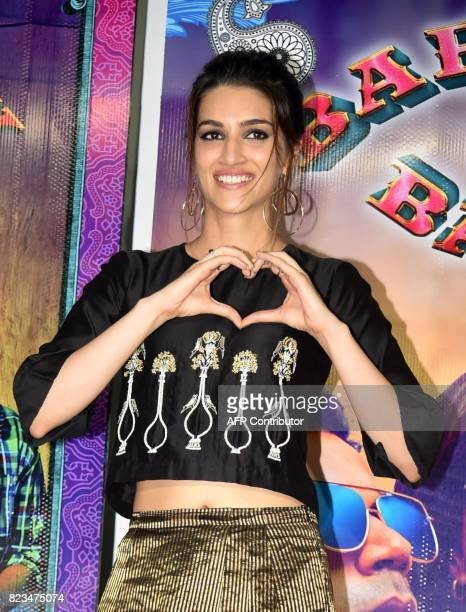 Indian Bollywood actress Kriti Sanon gestures during the promotion of her upcoming Hindi film 'Bareilly Ki Barfi' in Mumbai on July 27 2017 / AFP...