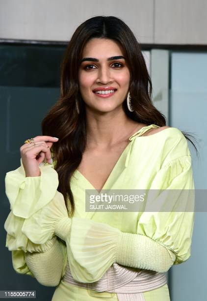 Indian Bollywood actress Kriti Sanon poses during a promotion for the upcoming romantic comedy Hindi film 'Arjun Patiala' in Mumbai on July 10 2019