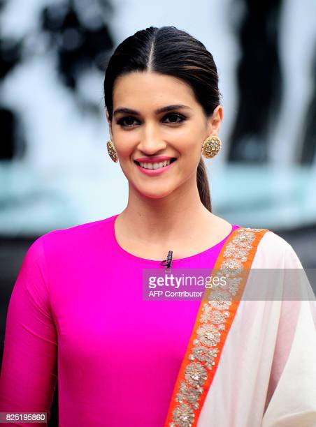 Indian Bollywood actress Kriti Sanon poses for a photograph during a promotional event for the forthcoming Hindi film Bareilly Ki Barfi in Mumbai on...