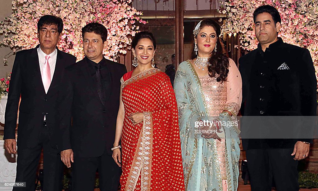 Indian Bollywood Actress Madhuri Dixit Nene 3L And Her Husband 2L Attend