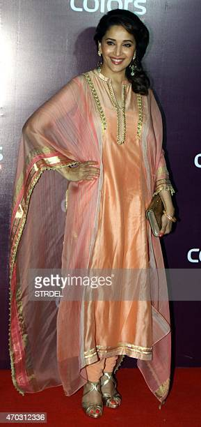 Indian Bollywood actress Madhuri Dixit Nene poses for a photograph during a promotional event in Mumbai on late April 18 2015 AFP PHOTO / STR