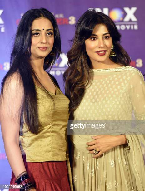 Indian Bollywood actress Mahi Gill and Chitrangada Singh attend the song launch event for her upcoming Hindi film Saheb Biwi Aur Gangster 3 in Mumbai...