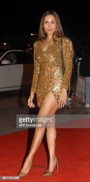 Indian Bollywood actress Malaika Arora attends the Gauri Khan Ensures Cirque Le Soir Party in Mumbai on October 27 2017 / AFP PHOTO / Sujit Jaiswal