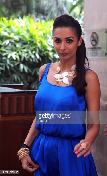 Indian Bollywood actress Malaika Arora Khan poses for a photo during the launch of the charitythemed campaign Taiwan Excellence Cares in Mumbai on...