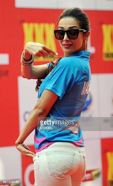 Indian Bollywood actress Malaika Arora Khan poses for a photograph during the Celebrity Cricket League season five in Mumbai on January 10 2015 AFP...