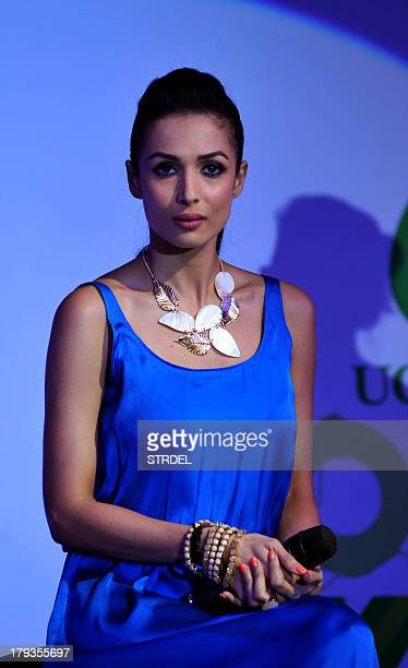 Indian Bollywood actress Malaika Arora Khan speaks with the media during the launch of the charitythemed campaign Taiwan Excellence Cares in Mumbai...