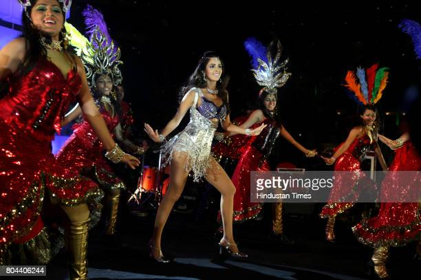 Indian Bollywood actress Mallika Sherawat performing at Hotel Sahara Star during the New Year party on Friday evening
