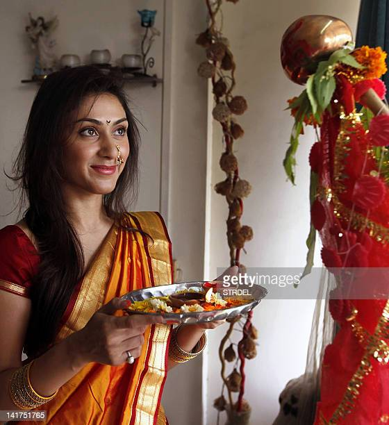 Indian Bollywood actress Manjari Phadnis celebrates 'Gudi Padwa' or the Maharashtrian New Year in Mumbai on March 23 2012 Gudi Padwa is the Hindu new...