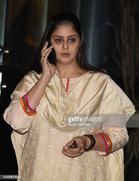 Indian Bollywood actress Nagma attends a prayer meet for the late Krishna Raj Kapoor wife of late actor Raj Kapoor in Mumbai on October 04 2018