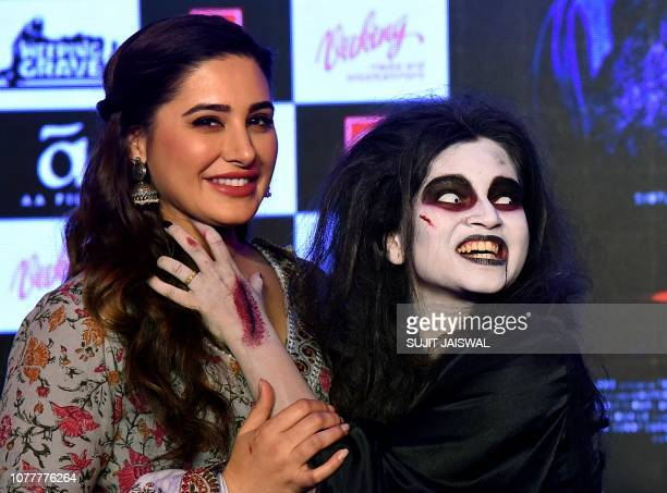 Indian Bollywood actress Nargis Fakhri poses during the promotion of the upcoming horror thriller Hindi film 'Amavas' in Mumbai on January 5 2019