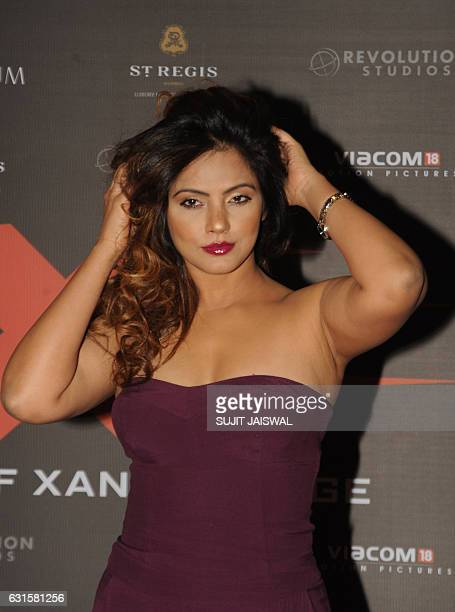 Indian Bollywood actress Neetu Chandra poses as she attends the premiere of Hollywood action thriller film xXx Return of Xander Cage starring Vin...