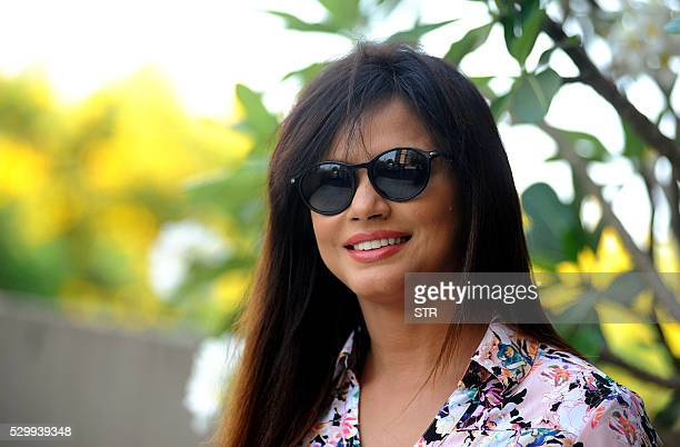 Indian Bollywood actress Neetu Chandra poses during a promotional event for the film Mithila Makhaan in Mumbai on May 9 2016 / AFP / STR