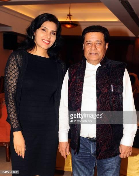 Indian Bollywood actress Nilanjana Bhattacharya and Bhajan singer Anup Jalota attend the music launch of the upcoming Hindi film Mr Kabaadi in Mumbai...