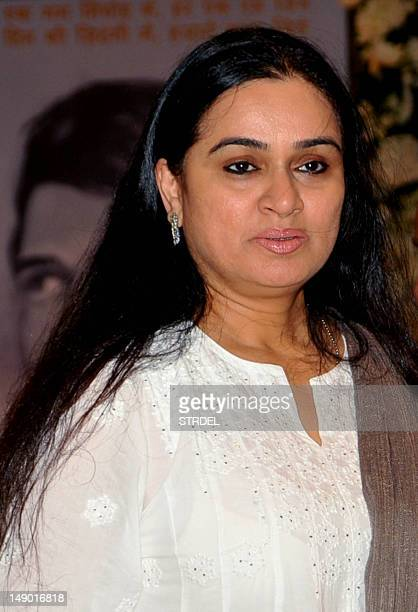 Indian Bollywood actress Padmini Kolhapure attends a prayer function in memory of late actor Rajesh Khanna in Mumbai on July 21 2012 Khanna popularly...