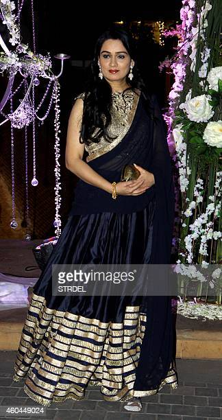 Indian Bollywood actress Padmini Kolhapure attends the marriage Sangeet ceremony of Bollywood film director Punit Malhotra and Riddhi Malhotra the...