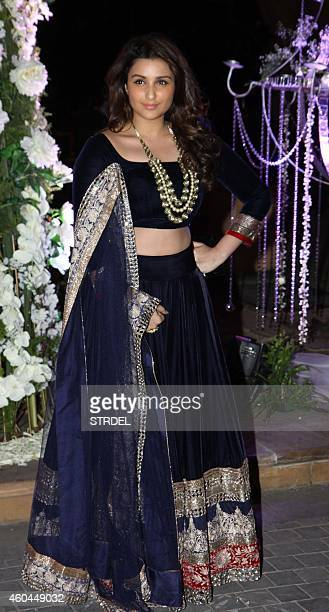 Indian Bollywood actress Parineeti Chopra attends the marriage Sangeet ceremony of Bollywood film director Punit Malhotra and Riddhi Malhotra the...
