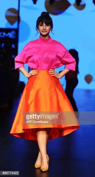 Indian Bollywood actress Patralekha poses for a photograph during the Lakme Fashion Week Winter/Festive 2017 in Mumbai on August 20 2017 Lakme...