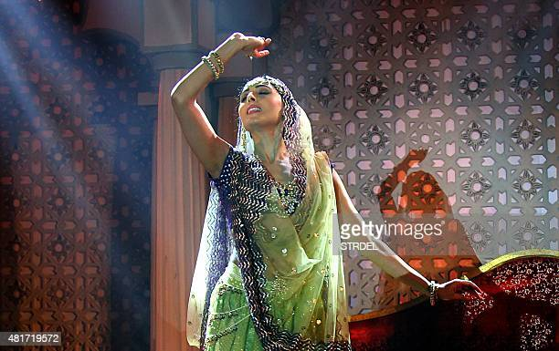 Indian Bollywood actress Pernia Quershi performs a dance routine during the music launch for the forthcoming Hindi film Jaanisaar directed by...