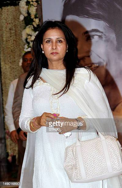 Indian Bollywood actress Poonam Dhillon attends a prayer function in memory of late actor Rajesh Khanna in Mumbai on July 21 2012 Khanna popularly...