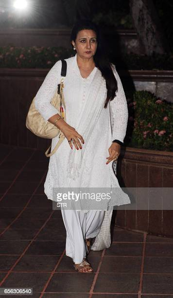 Indian Bollywood actress Poonam Dhillon attends a prayer meeting for the late Krishnaraj Rai the father of actress Aishwarya Rai Bachchan in Mumbai...