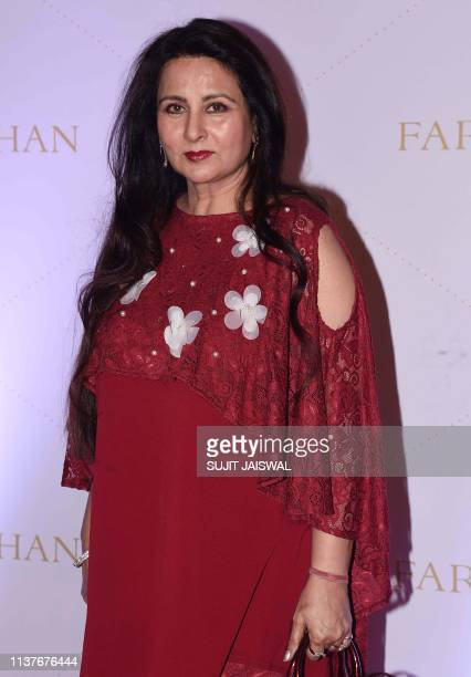 Indian Bollywood actress Poonam Dhillon attends the launch of jewelery designer Farah Khan's book A Bejewelled Life in Mumbai on April 16 2019