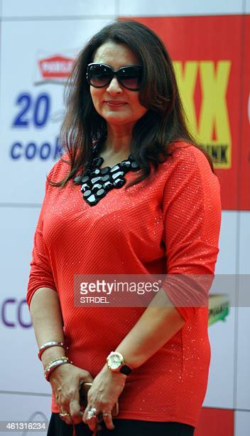 Indian Bollywood actress Poonam Dhillon poses for a photograph during the Celebrity Cricket League season five in Mumbai on January 10 2015 AFP PHOTO...