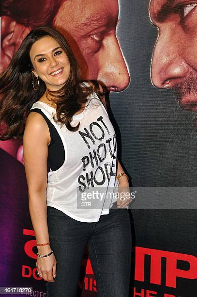 Indian Bollywood actress Preity Zinta attends the Success Party of Hindi film 'Badlapur' directed by Sriram Raghavan in Mumbai on February 27 2015...