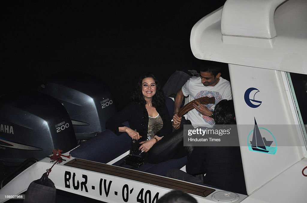 Indian bollywood actress Preity Zinta during the Hrithik Roshan's birthday party on Yacth which is hosted by Hrithik's wife Sussanne Roshan on...